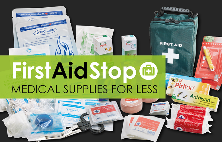 first aid stop medical supplies banner